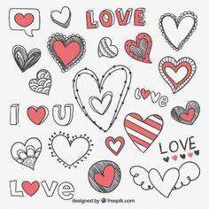 Dibujado a mano corazones románticos
