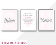 Nursery Decor Wall Art Prints and Personalised by InspiredFlamingo Sister room quote Baby Girl Nursery Decor, Nursery Wall Decor, Boys Bedroom Themes, Bedroom Ideas, Gifts For New Mums, Princess Nursery, Boy Girl Room, Personalised Prints, Sister Room