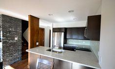 Whistler kitchen renovation. Custom built LDL Wenge vaneer cabinets & glass tile backsplash- adding a vaneer post accent Lorenz Developments Ltd.