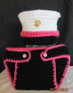 e8ecb720bee Marine Corps Hat Diaper Cover Military Baby Girl Pink Photo Prop Newborn