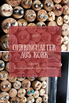 DIY jewelry storage for earrings, earring holder made of cork yourself Informations About Ohrringhalter aus Kork selber machen – upcycling … Jewelry Cleaner Recipes, Homemade Jewelry Cleaner, Diy Earring Holder, Diy Jewelry Holder, Diy Upcycled Art, Upcycled Furniture, Furniture Ideas, Diy Upcycling, Diy Jewelry To Sell