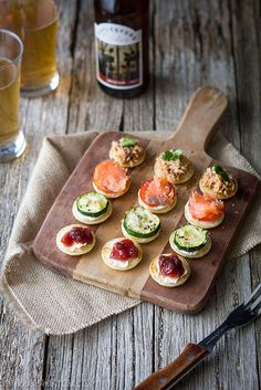 Mini pancakes (blinis) with 4 different toppings - perfect for an aperitif time !