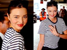Miranda Kerr with red lipstick and stripes