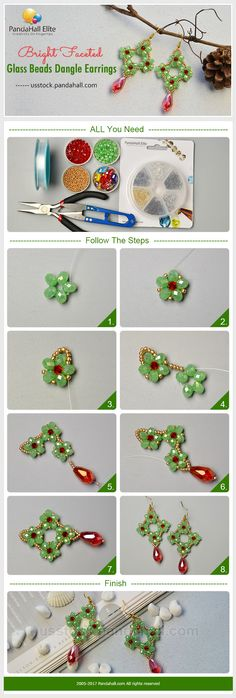PandaHall Elite Craft Ideas: How to make green flower earrings with faceted glass beads  #pandahallelite #craft #flower #earrings #handmadeearrings #glassbeads