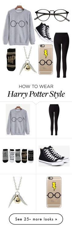 """Harry potter"" by colourlessheart on Polyvore featuring Miss Selfridge, Casetify, Quiksilver and Converse"