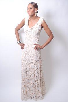 Vintage-Inspired Sleeveless LACE CROCHET Ruffle Simple WEDDING maxi dress gown floor length Boho.