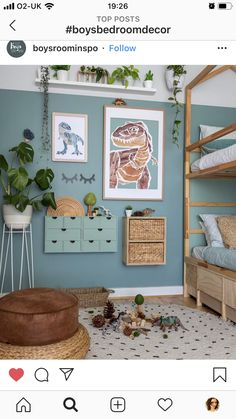 Boysroominspo Boho boys room with green painted wall plants and trex poster art Dinosaur Bedroom, Dinosaur Kids Room, Dinosaur Room Decor, Dinosaur Dinosaur, Dinosaur Crafts, Home Decoracion, Old Room, Toddler Rooms, Kids Room Design