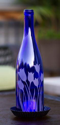 Wine Bottle Candle Lantern Tulips Design CB14 by SurfingFlamingo, $30.00
