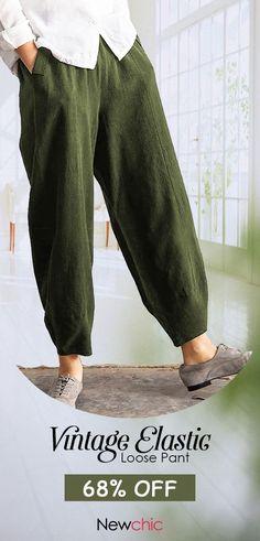 19145e2a0e416 Vintage Elastic Waist Pure Color Pocket Pants for Women