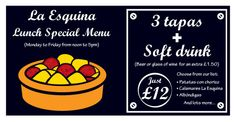 lunchtime deal - 3 tapas and a soft drink, just offer available Monday to Friday from 12 til 5 Gluten Free Menu, Lunch Specials, Tapas Bar, Places To Eat, Great Recipes, Beer, Soft Drink, Restaurant, Southampton