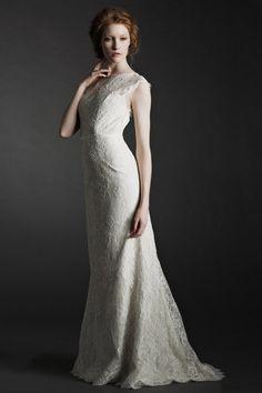 2014 Graceful Lace Wedding Dress Sheath/Column Court Train With Sash