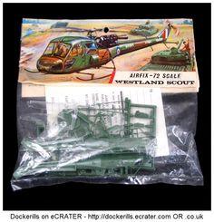 Vintage Airfix Westland Scout Kit. Type 3 / Red Stripe Bag Kit. Produced c. 1963-1973.