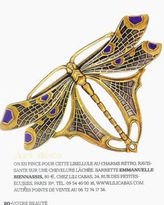 Obviously, this *isn't* Art Deco. I find this sort of thing very irritating - Leigh ** please don't: libellule art deco Bijoux Art Nouveau, Art Nouveau Jewelry, Jewelry Art, Antique Jewelry, Vintage Jewelry, Jewelry Design, Jewellery, Vintage Brooches, Dragonfly Jewelry