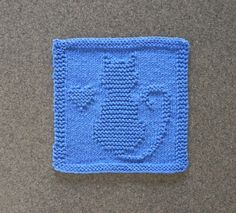CAT / KITTEN / HEART Knit Dishcloth. Hand Knitted Unique Design. Medium Blue Cotton Dish Cloth / Wash Cloth. Great Cat Lover or Hostess Gift