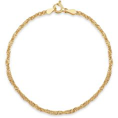 Womens 7 1/2 Inch 14K Gold Over Silver Chain Bracelet ($60) ❤ liked on Polyvore featuring jewelry, bracelets, 14k gold jewelry, yellow gold bangle, 14 karat gold bangles, 14k bangle and gold chain jewelry