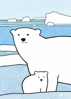 """A Polar Bear cub and mother in an Arctic seascape with icebergs. Whimsically drawn with ink and watercolors. High quality art print Signed and dated 5x7"""" and 8x10"""" prints come matted 11x14"""" print is s"""