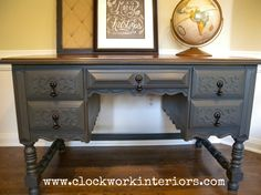 desk and mahogany chair makeover, diy, home office, painted furniture, woodworking projects