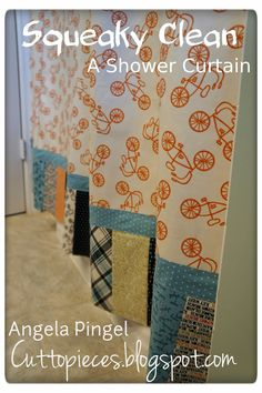 "Moda Bake Shop: Squeaky Clean: A Shower Curtain... Cute pattern.  Site has lots of ""recipes"" using their pre-coordinated fabrics"