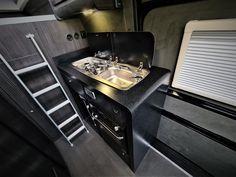 VW Crafter Sporthome - 4 Motion - Elevating Roof - Mclaren Sports Homes Ltd | Luxury Sporthome & Motorhome Conversions Black Leather Vans, Black Vans, Van Conversion Furniture, Vw Camper Conversions, Black Rhino Wheels, Mercedes Sprinter Camper, Vw Crafter, Van Interior, Heating Systems