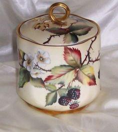 LIMOGE MUSTARD BOX   Antique Hand Painted Limoges Biscuit/cracker Jar photo