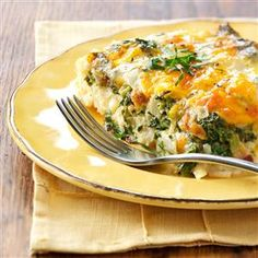 Hash Brown Pancetta Casserole Recipe -Eggs, hash browns, cheese, spinach, pancetta and fabulous flavor—this casserole has everything! You could also substitute provolone or Swiss cheese for the fontina. —Gilda Lester, Millsboro, Delaware