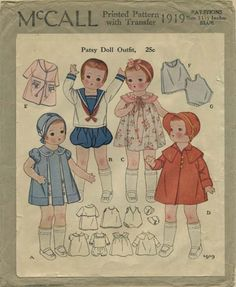 """Vintage Printo Gravure Doll Clothes Sewing Pattern 