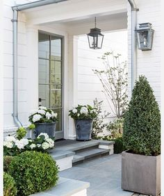 The front door. Beautiful modern farmhouse style exterior inspiration on Hello Lovely Studio Front Entrances, Modern Farmhouse Style, Outdoor Decor, Exterior Design, Modern Farmhouse Exterior, Front Garden, Outdoor Living, Front Porch Plants, Front Yard