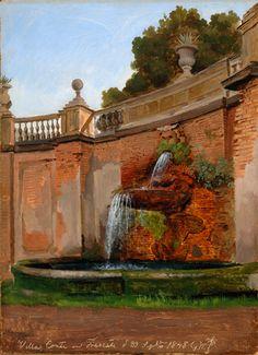 Gustaf Wilhelm Palm (1810-1890): A fountain in  the Villa Conti in Frascati, 1848