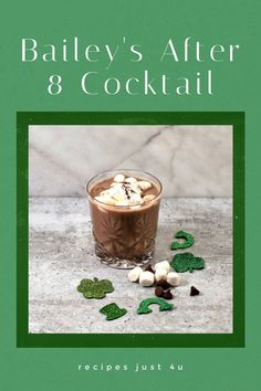 Bailey's Irish Cream makes this hot chocolate recipe a real hit for St. Patrick's Day. It is rich and creamy with a hint of sweetness in every sip. #baileysdrinks #baileysafter8 #cocktails #over 21 Baileys Cocktails, Baileys Irish Cream, Hot Chocolate Recipes, Great Desserts, Craft Cocktails, Dessert Drinks, Food Themes, Cream Recipes, Cocktail Recipes