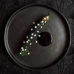 Grilled eggplant, black sesame and miso dark soy glaze. By @lvin1stbite