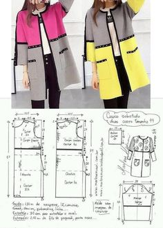 Sewing paterns added a new photo. Sewing Paterns, Dress Sewing Patterns, Clothing Patterns, Sewing Clothes, Diy Clothes, Long Jackets For Women, Coat Patterns, Jacket Pattern, Fashion Sewing
