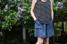 women's sewing patterns, women's tank pattern, women's skirt pattern, casual skirt pattern, cali faye basics tank, cali faye pocket skirt, art gallery fabrics, thrift store refashion