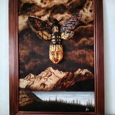 """""""Epiphany"""" by Jyri Tuunainen 95x135cm. Mixture of pyrography, wood carving and painting."""