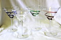 Vintage Set Of 4 Swirl Varied Colors Tall Hand Blown Art Glass  Martini/Cocktail Glasses