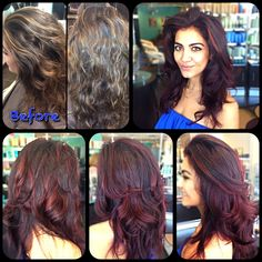 From dark brown base and blond highlights to deep red base and cherry highlights :) love the New look!!