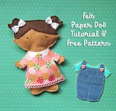 Free pattern to make a felt paper doll on your sewing machine.  #paperdoll #papercraft #feltdoll #girlygirl #diy #diycraft #gift #girlgift