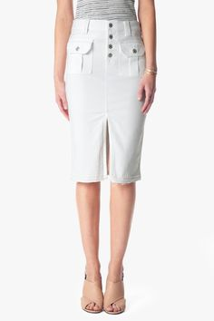 7 For All Mankind Utility Pocket Skirt With Released Hem in White