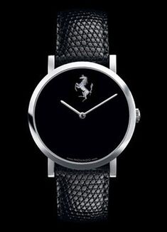 ♂ Masculine and elegance Simple design black Movado Ferrari Watch