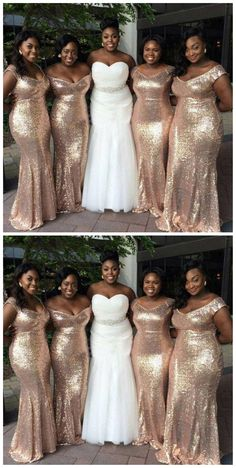Sparkly Gold Sequin Mismatched Custom Long Bridesmaid Dresses, Affordable Unique Custom Long Bridesmaid Dresses, Affordable Bridesmaid Gowns, BD114