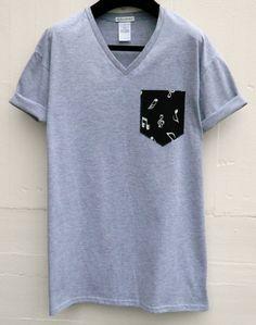 Men's V-Neck Musical Notes Pattern Grey Pocket T-Shirt, Men's T- Shirt, Pocket tee, Unisex, Menswear, UK by HeartLabelTees on Etsy