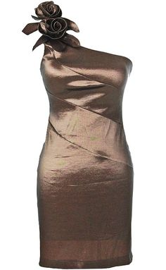 Chocolate Rose Dress: Features a chic one-shoulder design with origami-style roses crowning the right shoulder, exposed seams running diagonally across the bodice, iridescent satin fabric throughout, and a centered rear zip closure to finish.