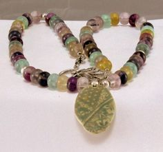 Flourite Necklace with Ceramic Pendant.  Fashion by BlingbyDonna