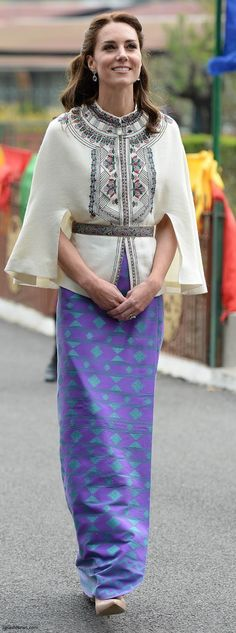 hrhduchesskate:  Royal Tour 2016, Day 5, Bhutan, April 14, 2016-Duchess of Cambridge paired an Embroidered Wool Cape by French brand Paul and Joe and paired it with a skirt made from fabric made by master weaver Keizang Wangmo, a lady from Thimpu; the Duchess accessorized with her L.K. Bennett 'Fern' Pumps and Kiki McDonough Lavender Amethyst Pear and Oval Drop Earrings