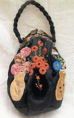 Very Unusual Arts & Crafts Embroidered Bag RARE Bird                 Multicolor CELLULOID FRAME