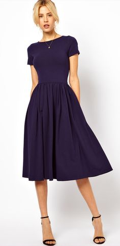 Simple navy blue dress.