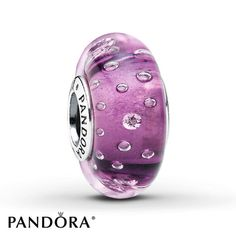 This purple Murano glass sterling silver charm, from the PANDORA Fall 2013 charm collection, has extra sparkle from embedded clear cubic zirconias. Style # 791616CZ.