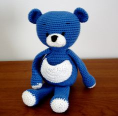 Blue Bear pattern Free. Crochet. Maybe a tooth fairy pocket?