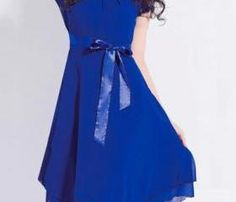 Fashion Round Neck Short Sleeve Skater Dress - Blue