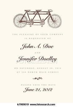 Stock Illustration of Vector Vintage Bicycle Wedding Invitation k7989019 - Search Vector Clipart, Drawings, Print Murals, Illustrations, and EPS Graphics Images - k7989019.jpg