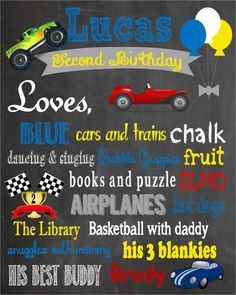 Printable Cars and Trucks Themed Birthday Chalkboard Poster on Etsy, $15.00